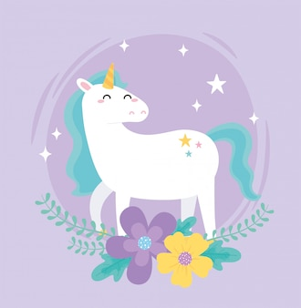 Carino unicorno magico fiori stella fantasia animale fumetto illustrazione vettoriale