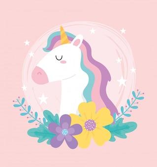 Carino unicorno magico fiori stelle fantasia floreale animale fumetto illustrazione vettoriale