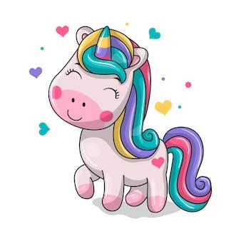 Unicorno magico carino. illustrazione di disegno a mano