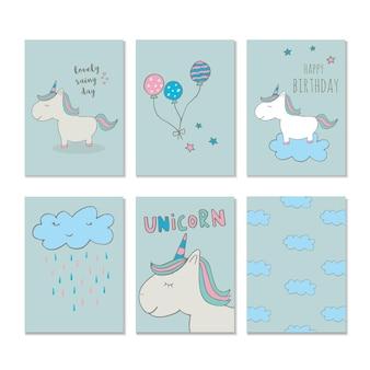 Simpatico unicorno magico. grafica per bambini dolci per t-shirt, baby shower, cartoline, poster, striscioni, album di ritagli, adesivi, inviti. illustrazione vettoriale con arte vivaio di doodle.