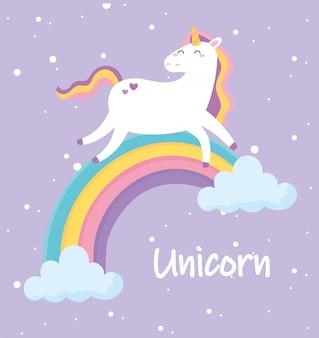 Unicorno magico sveglio che cammina sull'illustrazione di vettore del fumetto animale arcobaleno