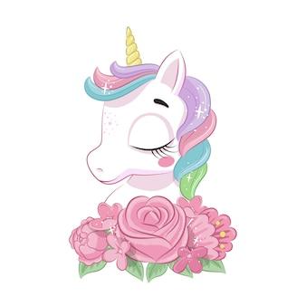 Simpatico unicorno magico con fiori. illustrazione per baby shower, biglietto di auguri, invito a una festa, stampa di t-shirt vestiti di moda. Vettore Premium