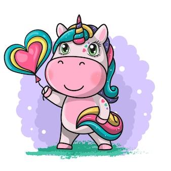 Simpatico unicorno magico con palloncino cuore. illustrazione di disegno a mano