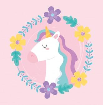 Carino unicorno magico ghirlanda di fiori decorazione floreale animale fumetto illustrazione vettoriale