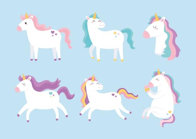 Simpatici unicorni magici colore diverso criniera animale cartoon
