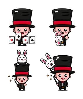 Mago carino a tema giocando la magia con il coniglietto