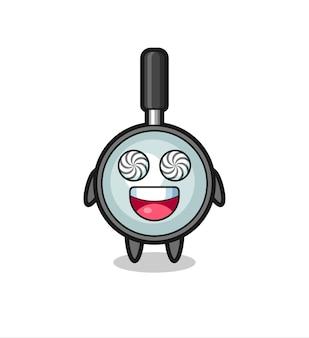 Simpatico personaggio con lente d'ingrandimento con occhi ipnotizzati, design in stile carino per maglietta, adesivo, elemento logo