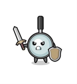 Simpatico soldato con lente d'ingrandimento che combatte con spada e scudo, design in stile carino per maglietta, adesivo, elemento logo