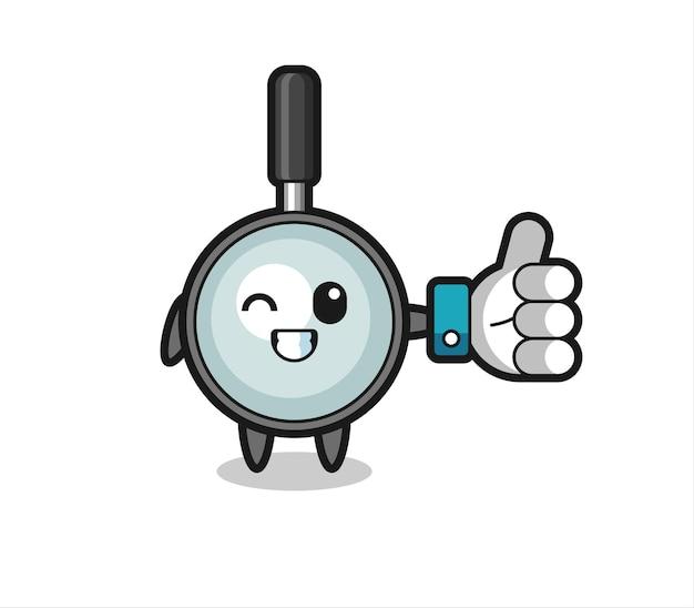 Graziosa lente d'ingrandimento con simbolo del pollice in alto dei social media, design in stile carino per t-shirt, adesivo, elemento logo