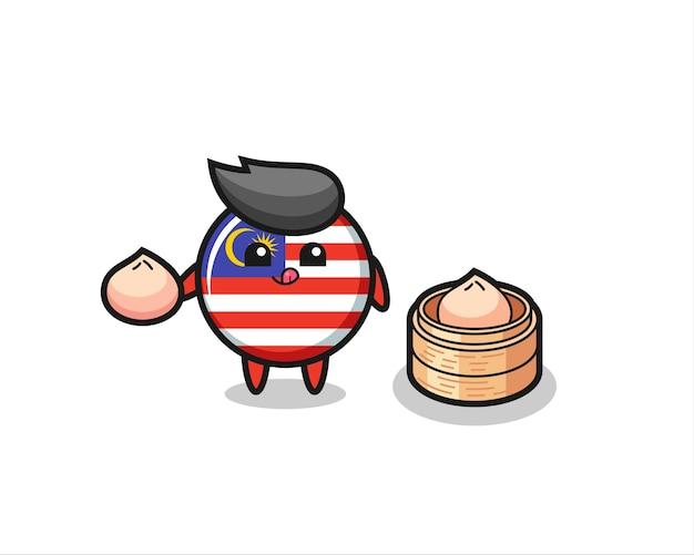 Simpatico personaggio distintivo della bandiera della malesia che mangia panini al vapore, design in stile carino per maglietta, adesivo, elemento logo