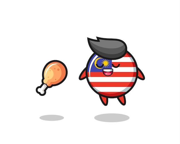 Simpatico distintivo bandiera malese galleggiante e tentato a causa del pollo fritto, design carino in stile per t-shirt, adesivo, elemento logo