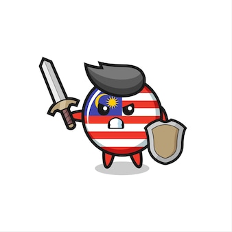 Simpatico soldato con distintivo bandiera malese che combatte con spada e scudo, design in stile carino per t-shirt, adesivo, elemento logo