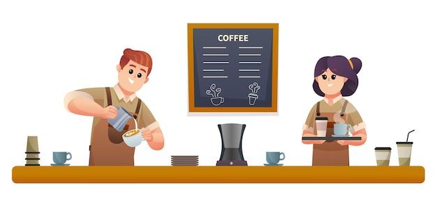 Simpatico barista maschio che fa il caffè e il barista femmina che porta il caffè con l'illustrazione del vassoio