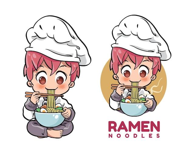 Cuoco unico maschio sveglio che mangia una ciotola di spaghetti ramen