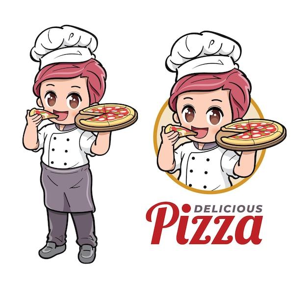 Simpatico chef maschio che mangia pizza