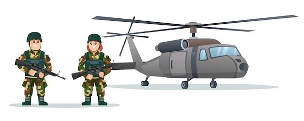 Simpatici soldati dell'esercito maschile e femminile che tengono pistole per armi con l'illustrazione del fumetto dell'elicottero militare