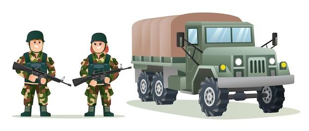 Simpatici soldati dell'esercito maschile e femminile che tengono pistole per armi con l'illustrazione del fumetto del camion militare