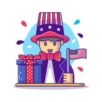 Simpatico uomo con bandiera americana per il giorno dell'indipendenza degli stati uniti cartoon