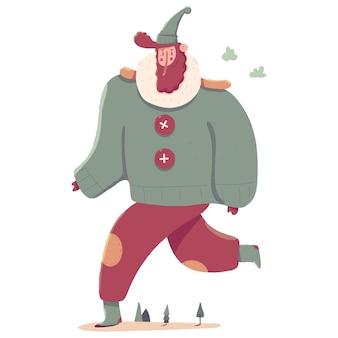 Uomo sveglio nell'illustrazione del personaggio dei cartoni animati dei vestiti di inverno