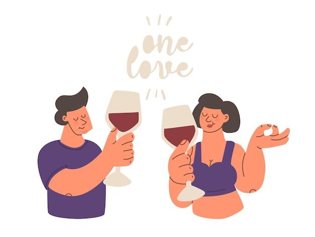 Uomo carino con un bicchiere di vino rosso lettering testo un amore carattere di tendenza del colore vettoriale