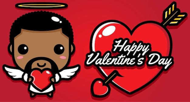 Uomo carino con auguri di buon san valentino