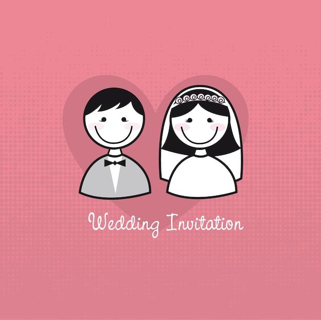 Vettore sveglio dell'invito di nozze delle icone della donna e dell'uomo