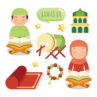 Uomo sveglio e donna che leggono la decorazione del kareem del ramadan del corano