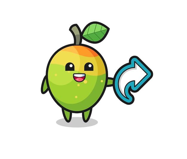 Simpatico mango con simbolo di condivisione sui social media, design in stile carino per t-shirt, adesivo, elemento logo