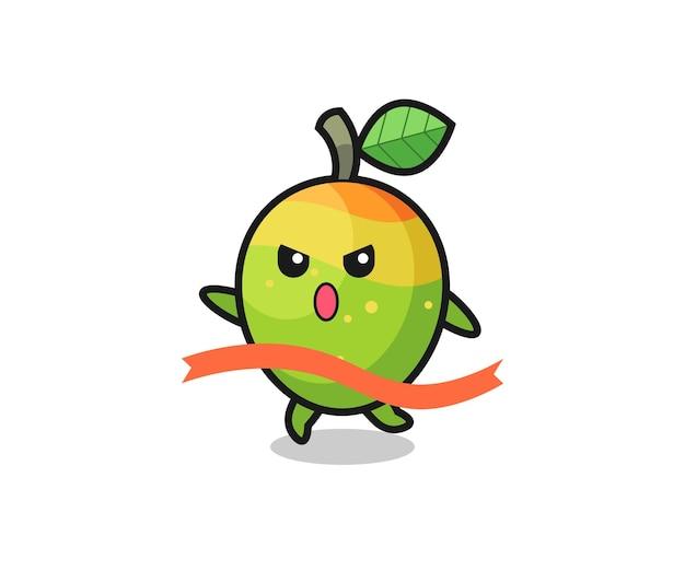 La simpatica illustrazione di mango sta raggiungendo il traguardo, il design in stile carino per t-shirt, adesivo, elemento logo