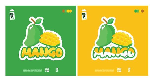 Simpatico concetto di logo mango con una miscela di 2 colori