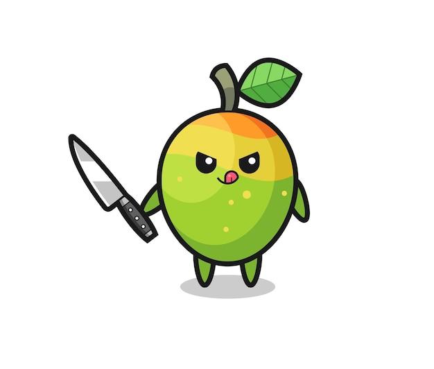 Simpatica mascotte di mango come psicopatico con in mano un coltello, design in stile carino per maglietta, adesivo, elemento logo