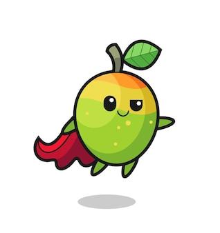 Simpatico personaggio di supereroe mango sta volando, design in stile carino per maglietta, adesivo, elemento logo