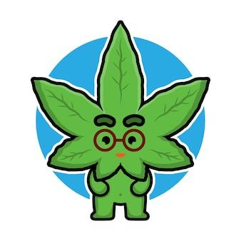 Simpatico personaggio dei cartoni animati di foglia di marijuana