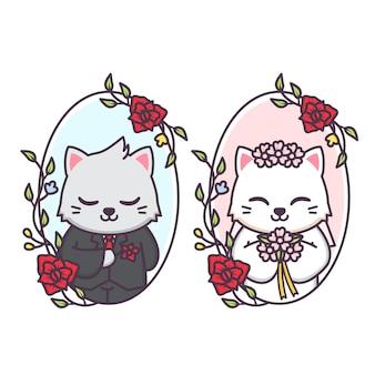 Coppia di sposi carina di gatto all'interno della cornice floreale