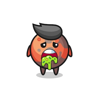 Il simpatico personaggio di marte con vomito, design in stile carino per maglietta, adesivo, elemento logo