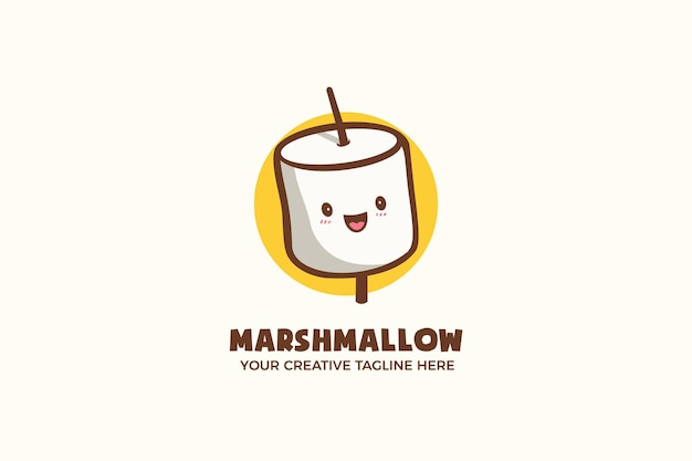 Simpatico modello di logo del personaggio della mascotte di caramelle marshmallow