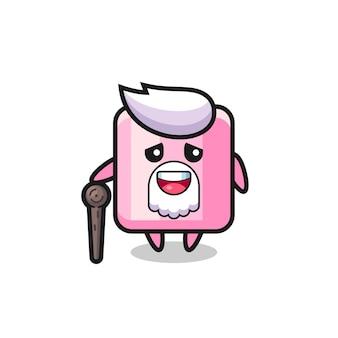 Il simpatico nonno marshmallow tiene in mano un bastone, un design in stile carino per maglietta, adesivo, elemento logo