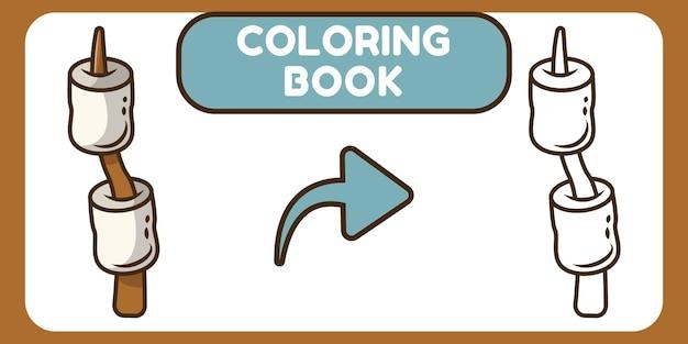 Libro da colorare di doodle del fumetto disegnato a mano di marshmallow sveglio per i bambini