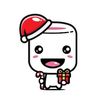 Marshmallow carino che indossa un cappello da babbo natale