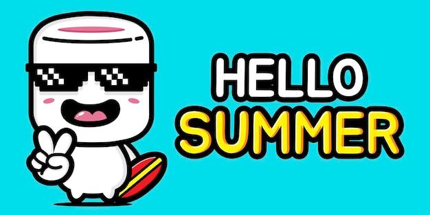 Marshmallow carini con banner di auguri estivi