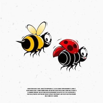 Illustrazione sveglia dell'ape e della coccinella della mascotte