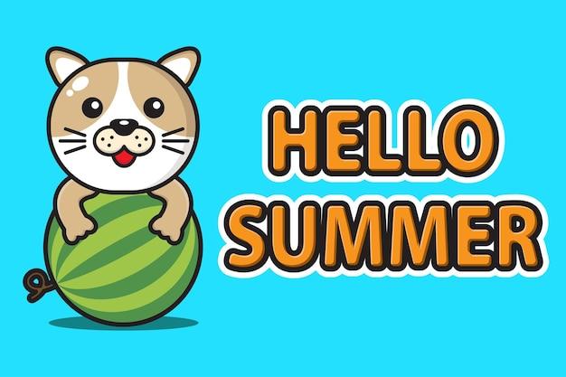 Simpatico cane mascotte che abbraccia anguria con ciao banner di saluto estivo