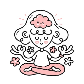Carina donna meditante con un cervello felice dentro