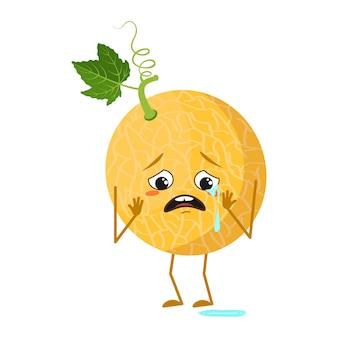 Simpatico personaggio di melone con emozioni di pianto e lacrime, viso, braccia e gambe. l'eroe divertente o triste, frutta. illustrazione piatta vettoriale
