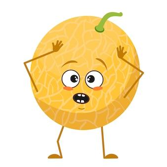 Simpatico personaggio di melone con emozioni in preda al panico afferra la testa, il viso, le braccia e le gambe. l'eroe del cibo divertente o triste, la frutta. illustrazione piatta vettoriale