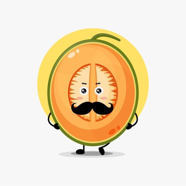 Simpatico personaggio di melone con i baffi Vettore Premium