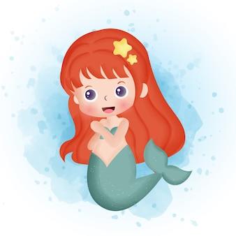 Acquerello di cartone animato carino sirena.