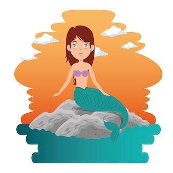 Cartone animato carino sirena