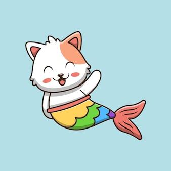 Illustrazione sveglia del fumetto del gatto della sirena