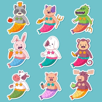 Set di caratteri del fumetto di vettore animale sveglio della sirena bambino isolato.